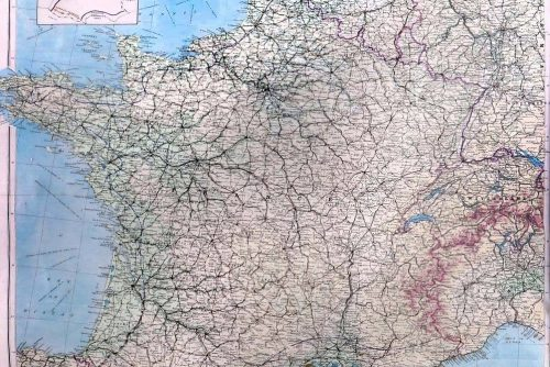 WWII Airborne D-Day escape and evasion map - 1944 Zones of France