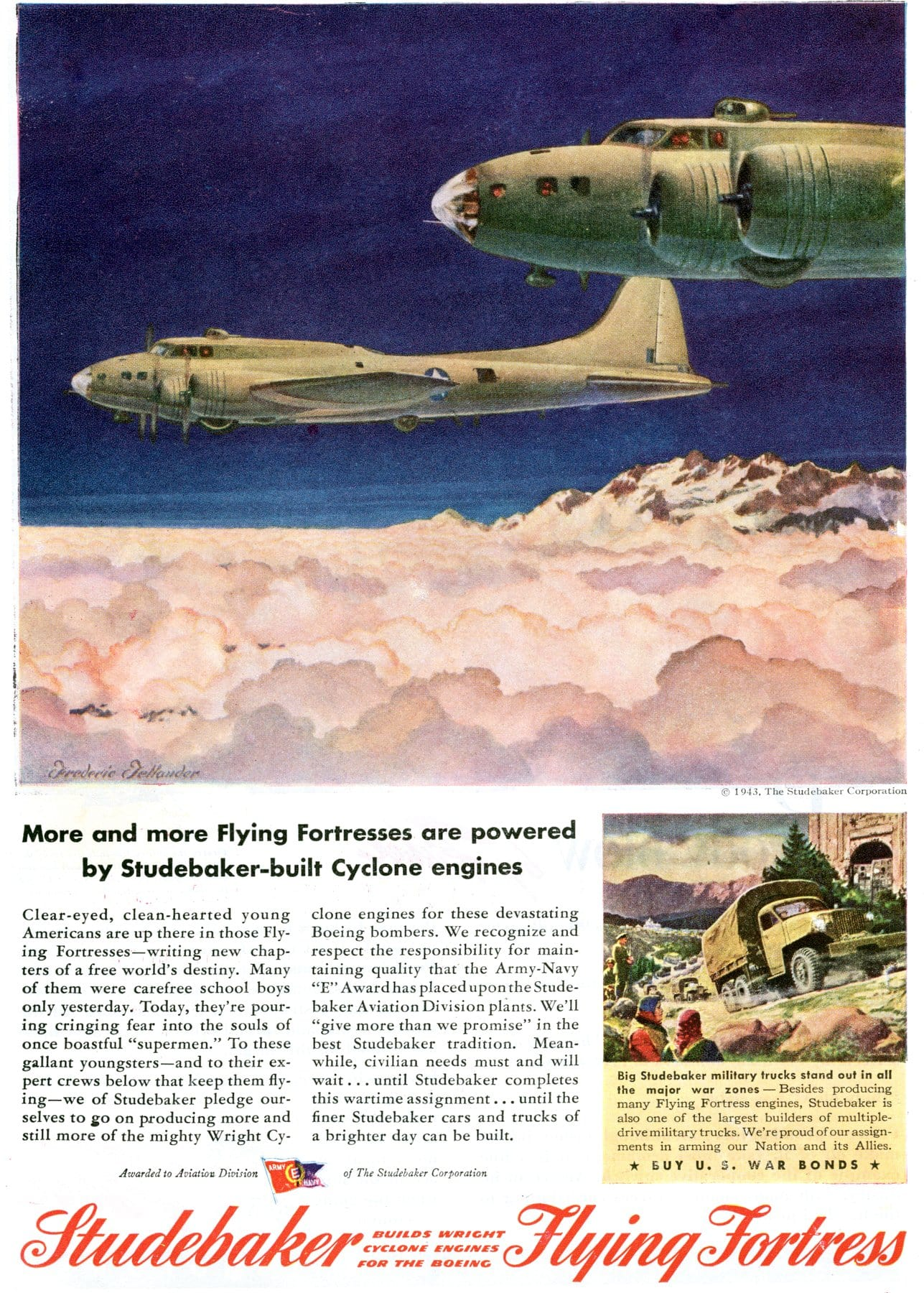 WWII Flying Fortresses powered by Studebaker-built Cyclone engines (1943)