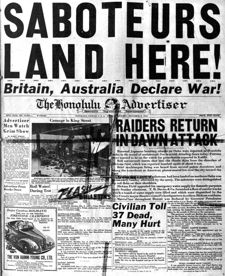 WWII Headlines - Japanese bomb Pearl Harbor in Hawaii - Honolulu Advertiser Mon Dec 8 1941
