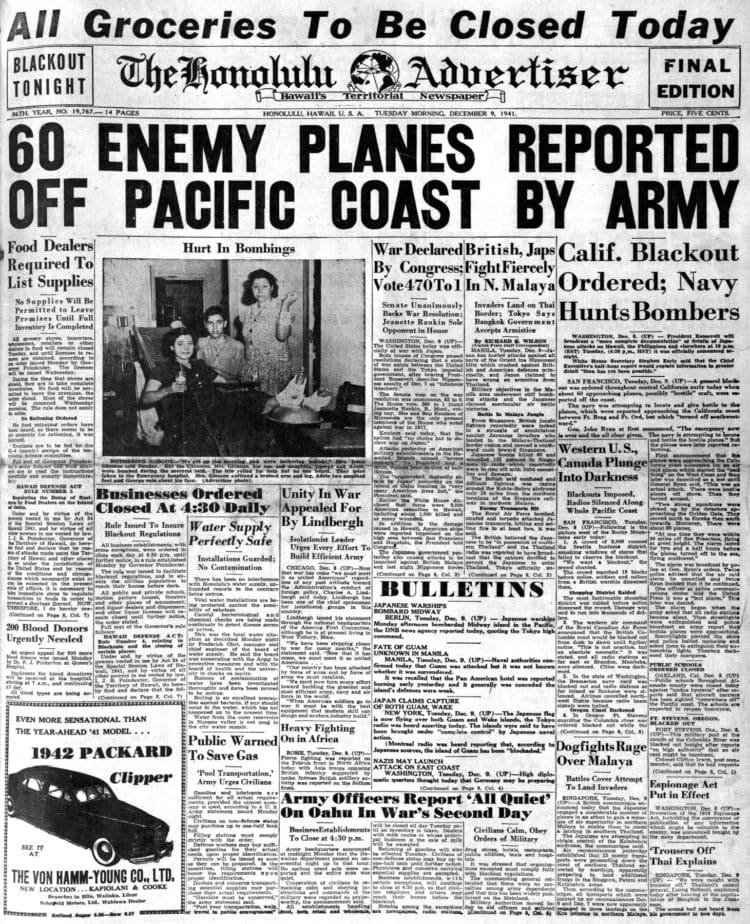 WWII Headlines - Japanese bomb Pearl Harbor in Hawaii - Honolulu Advertiser Tue Dec 9 1941