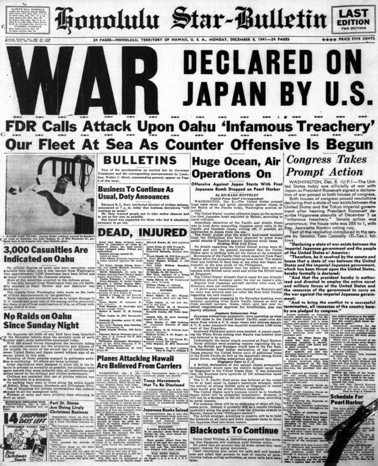WWII Headlines - Japanese bomb Pearl Harbor in Hawaii - Honolulu Star Bulletin Mon Dec 8 1941