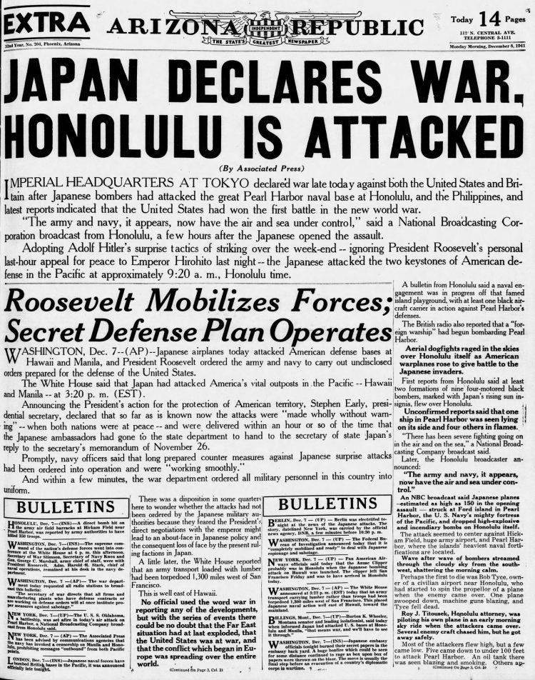 WWII War declared - Newspaper headlines from Arizona Republic - December 8 1941