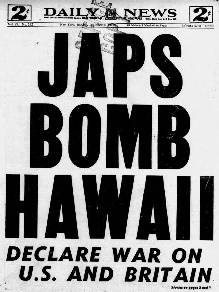 WWII War declared - Newspaper headlines from Daily News - December 8 1941