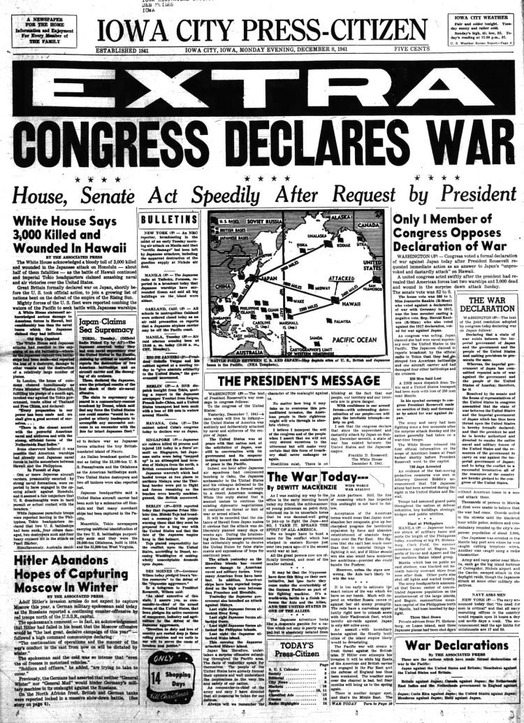 WWII War declared - Newspaper headlines from Iowa City Press Citizen - December 8 1941