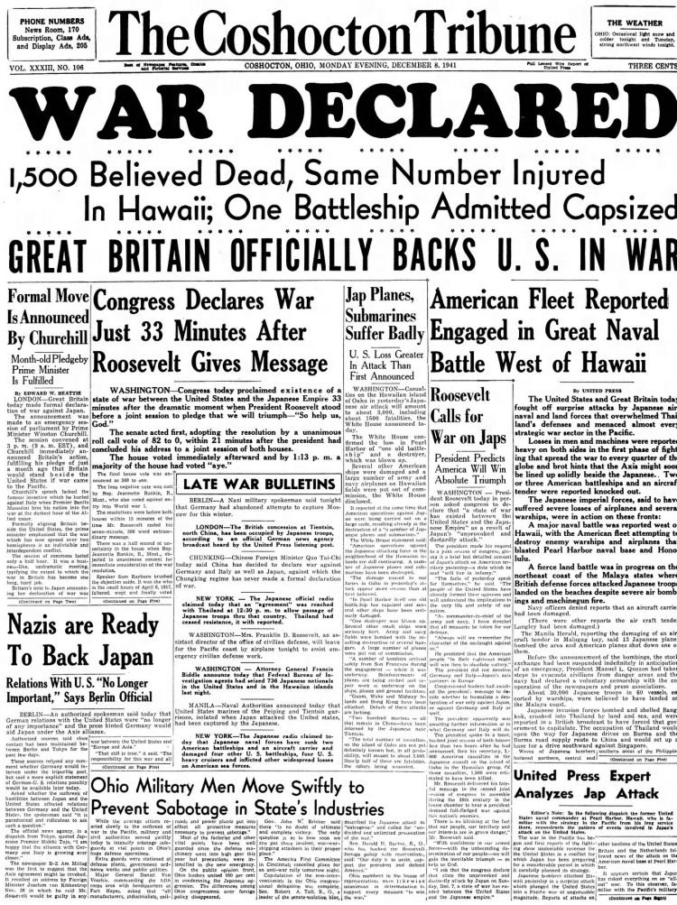 WWII War declared - Newspaper headlines from The Coshocton Tribune - December 8 1941