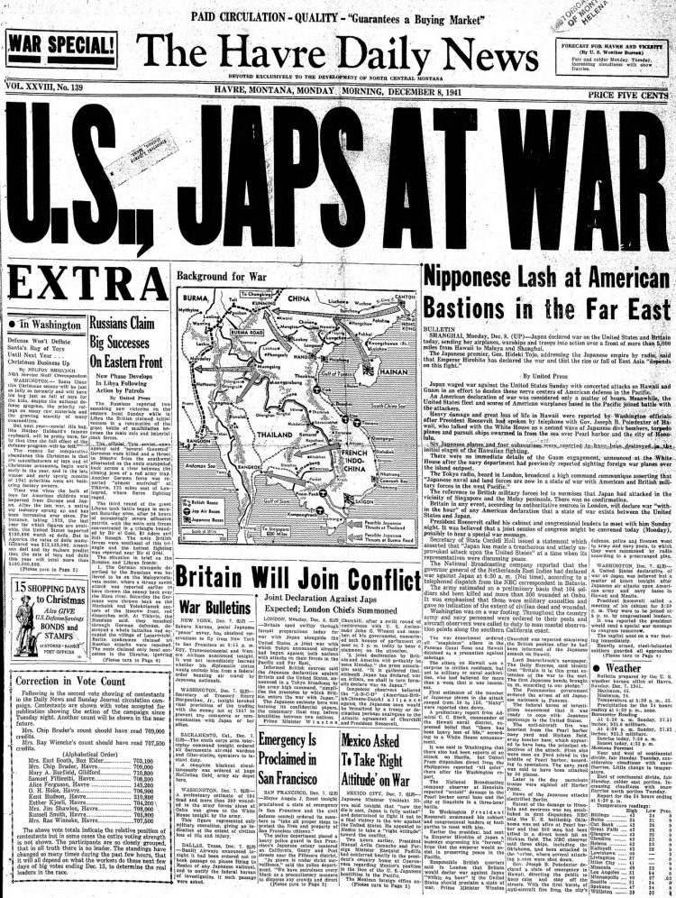 WWII War declared - Newspaper headlines from The Havre Daily News - December 8 1941