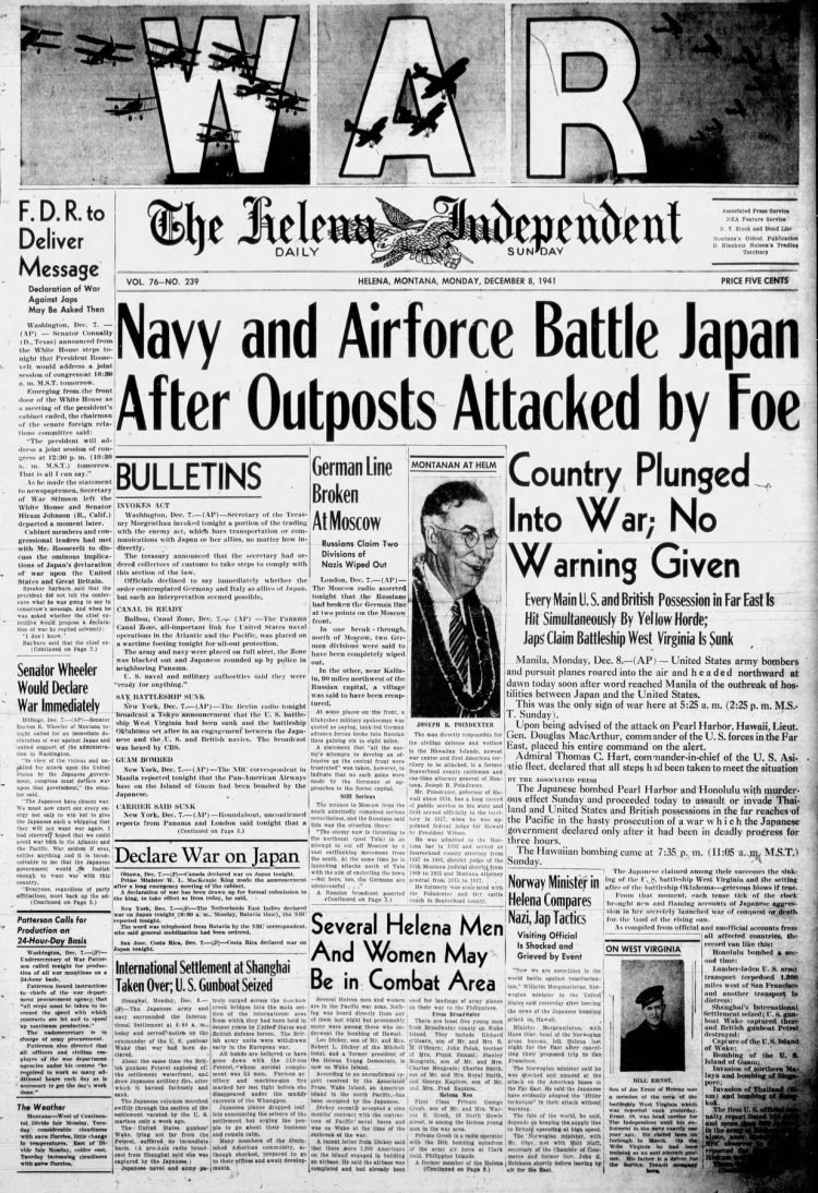 WWII War declared - Newspaper headlines from The Independent Record - December 8 1941