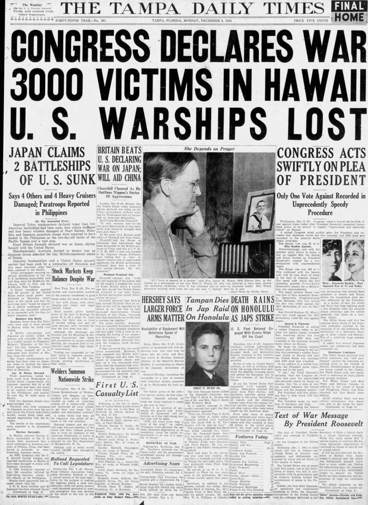 WWII War declared - Newspaper headlines from The Tampa Times - December 8 1941