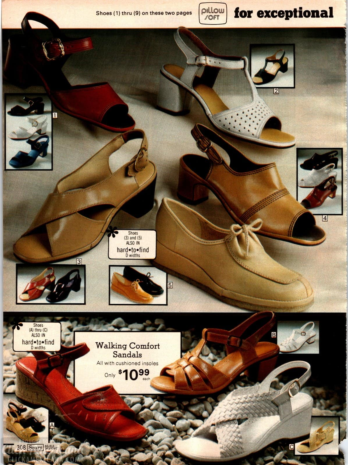 Walking sandals for women in the 70s - low square heels and cork wedge soles