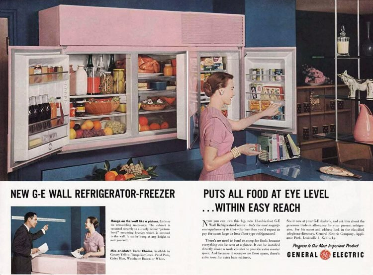 Wall-mounted pink fridge-freezer from 1955