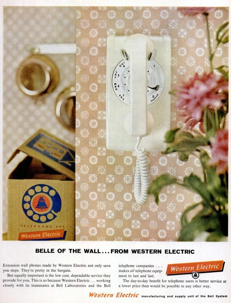 Wall-mounted white kitchen telephone from 1960