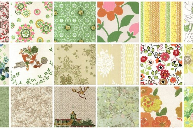 25 Vintage Mid-century Wallpaper Samples From The '60s