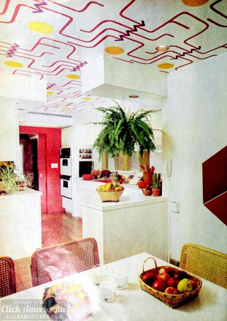 How To Wallpaper A Ceiling Plus 12 Colorful Examples Of This Retro 70s Home Decor Trend Click Americana