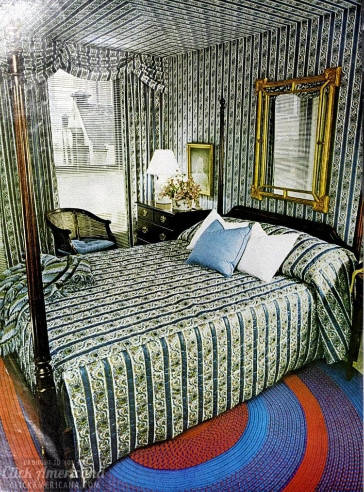 Have the wallpaper match the drapes and bedding