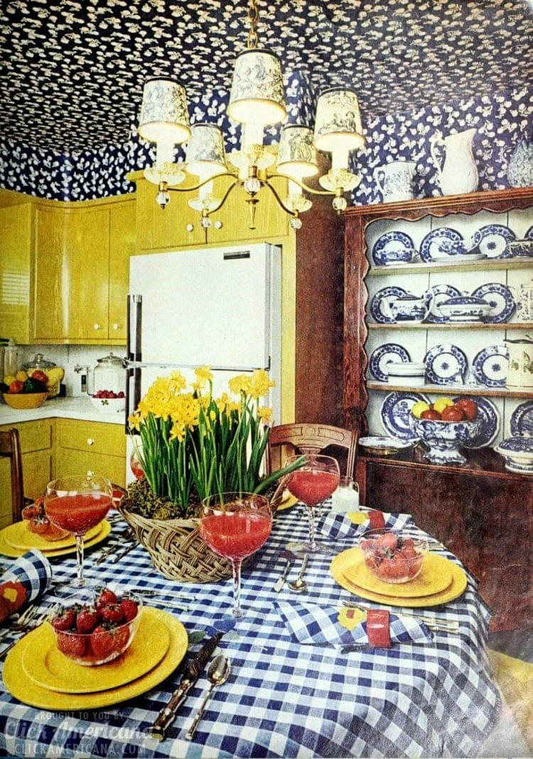 Kitchen dining area with a floral wallpapered ceiling