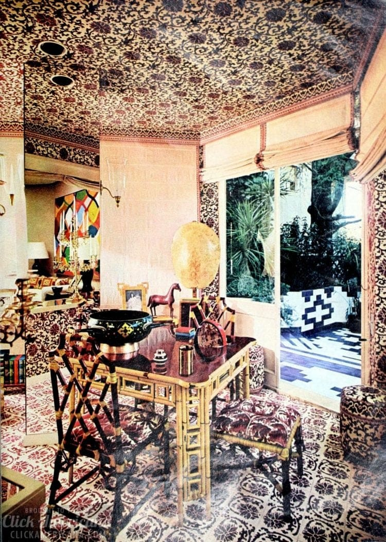 A small dining area with Asian-inspired wallpaper on walls and ceilings