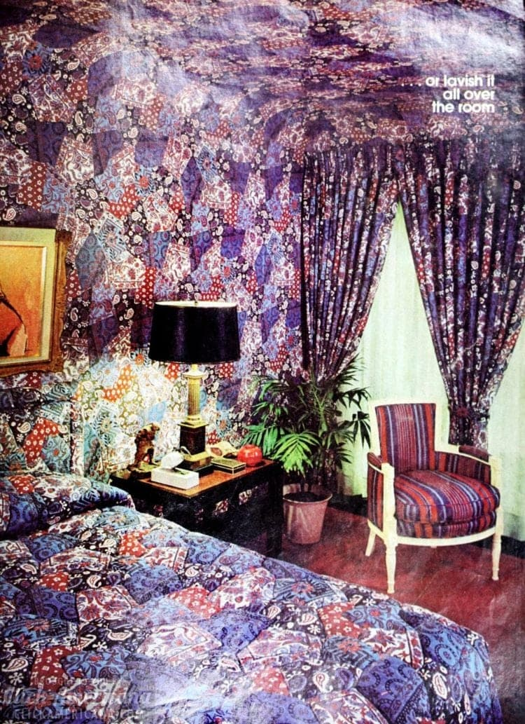 Scattered florals or plaids for a wallpapered ceiling
