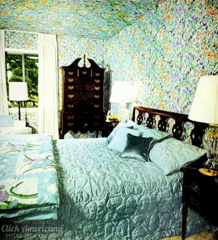Brightly-colored wallpapered ceilings