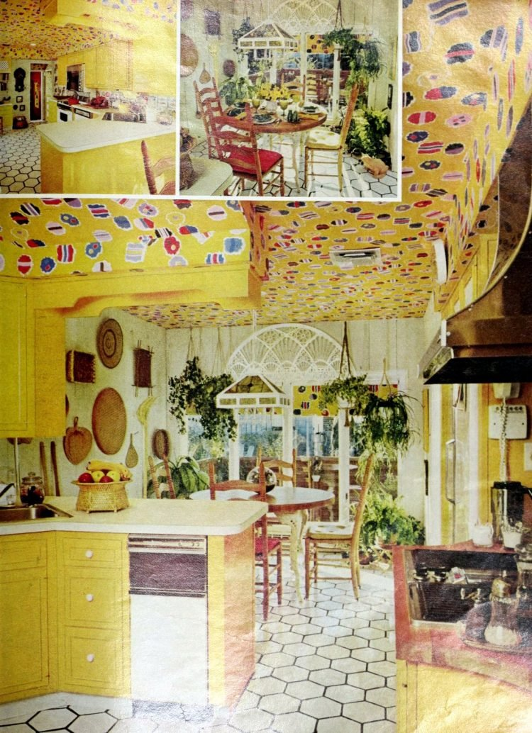 Yellow kitchen with a bright matching wallpapered ceiling