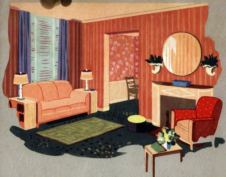 Walls with a fashion future! Vintage wallpaper samples from 1940 (2)