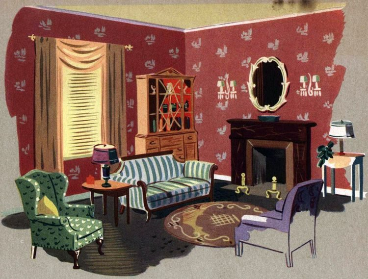 Walls with a fashion future! Vintage wallpaper samples from 1940 (3)