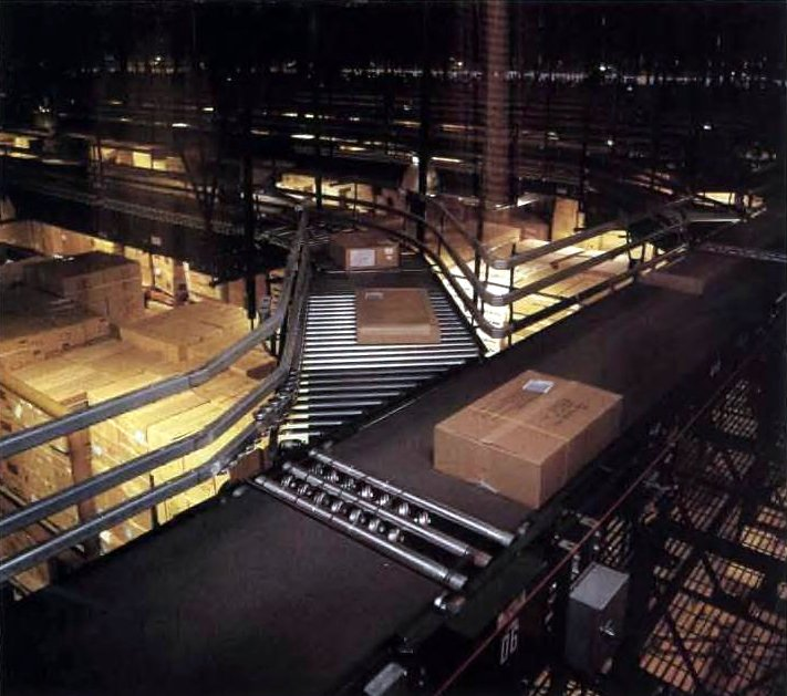 Walmart shipping department - Box on conveyor belt 1989