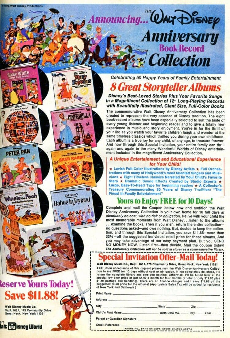 Walt Disney Anniversary Book and Record Collection 1974