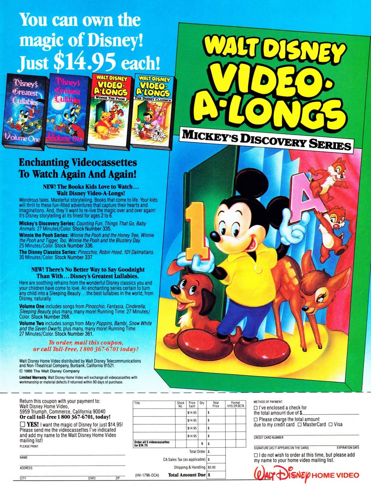 Walt Disney Video-A-Long video cassettes Mickey's Discovery Series (1986)