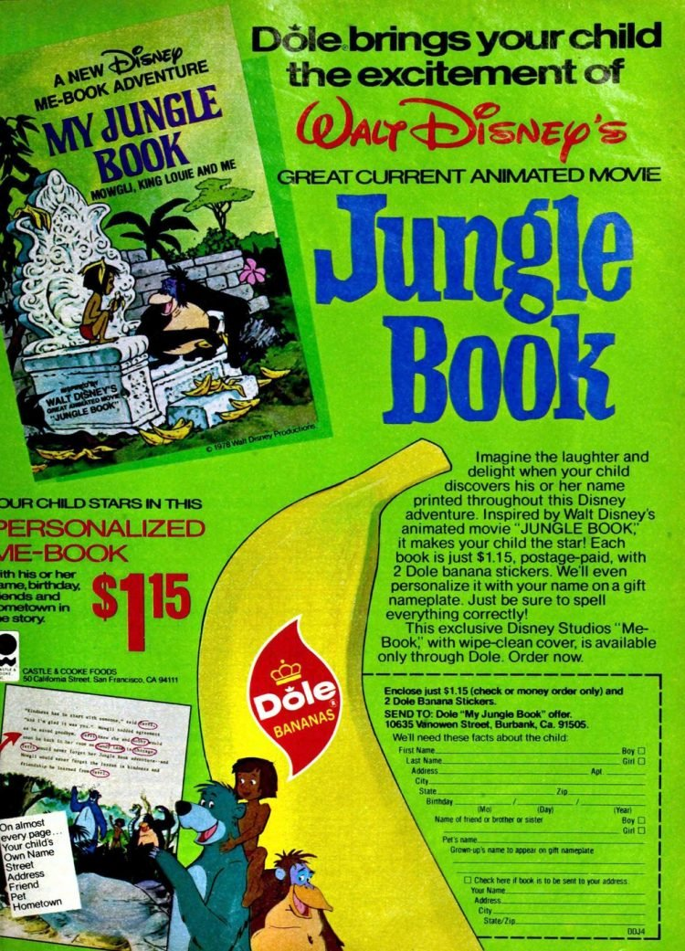 Walt Disney's Jungle Book - Personalized Me Book from 1978