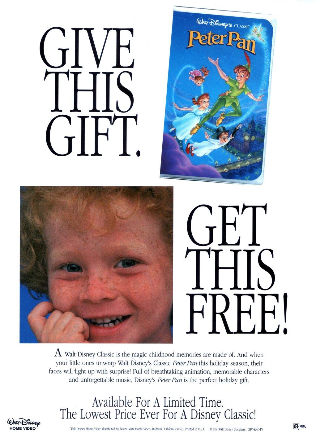 Walt Disney's Peter Pan on video tape (1990)