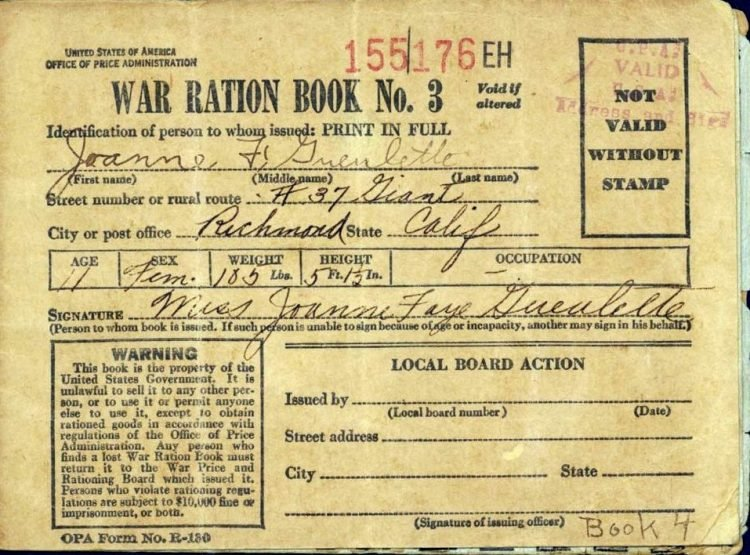 War ration book 3 from WW2 via NPS