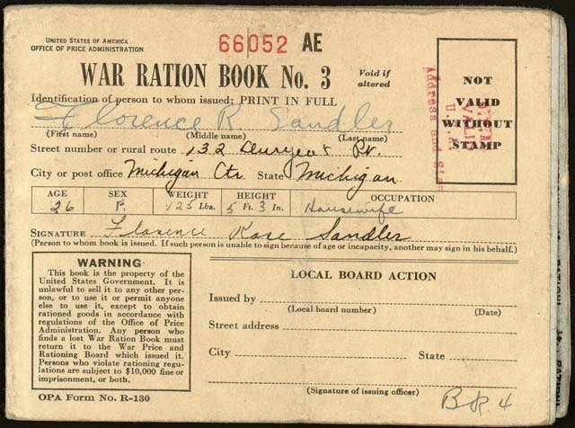 War ration book 3 from WW2