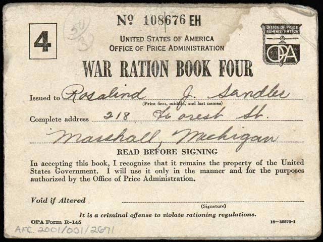 War ration book 4 from WW2