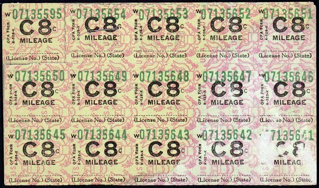 War ration stamps - Mileage - WWII
