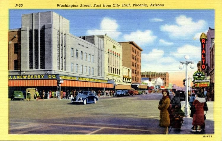 Washington Street, east from City Hall, Phoenix, Arizona 1943