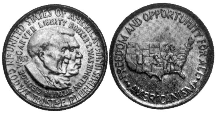 Washington and Carver on 1952 coin