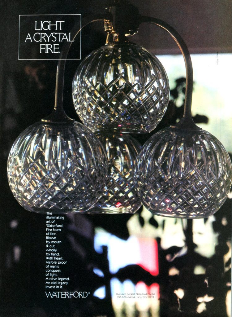 Waterford handmade crystal chandelier light fixture from the 1980s