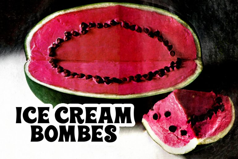 Watermelon old-fashioned ice cream bombe