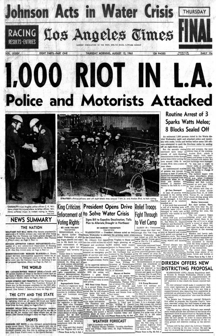 Watts riots - Historical newspaper stories August 12 1965