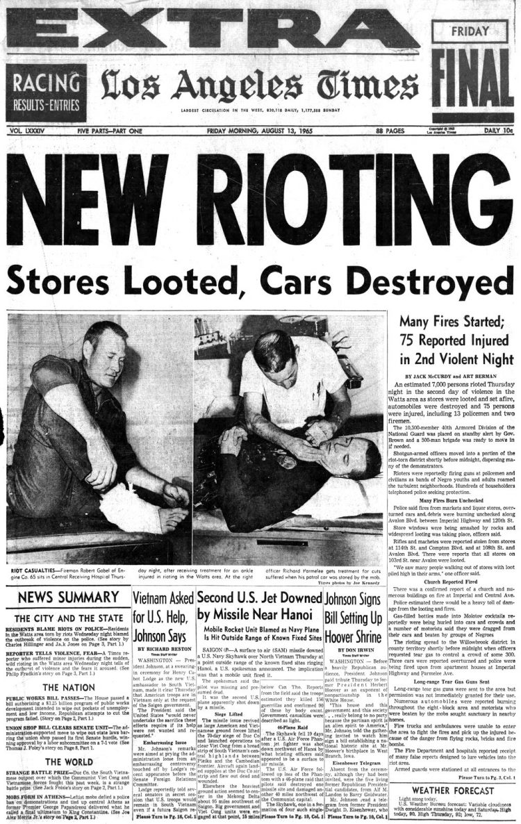 Watts riots - Historical newspaper stories August 13 1965 (1)