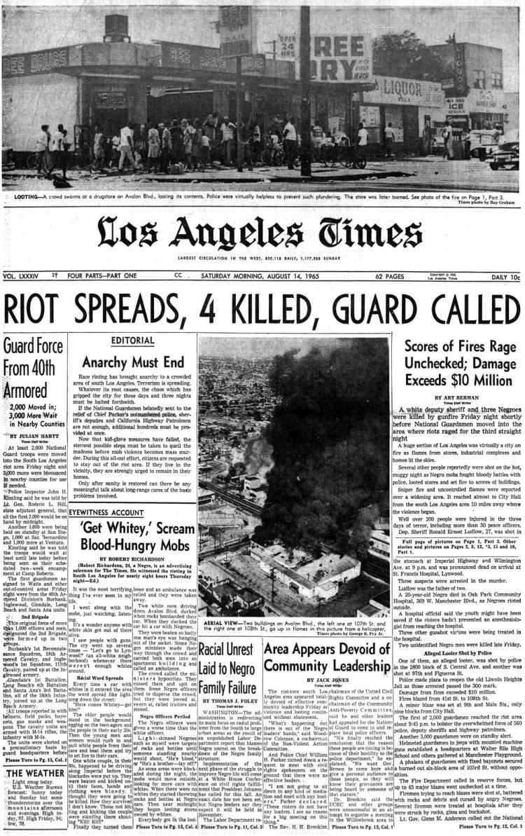 Watts riots - LA Times Historical newspaper stories August 14 1965 (2)