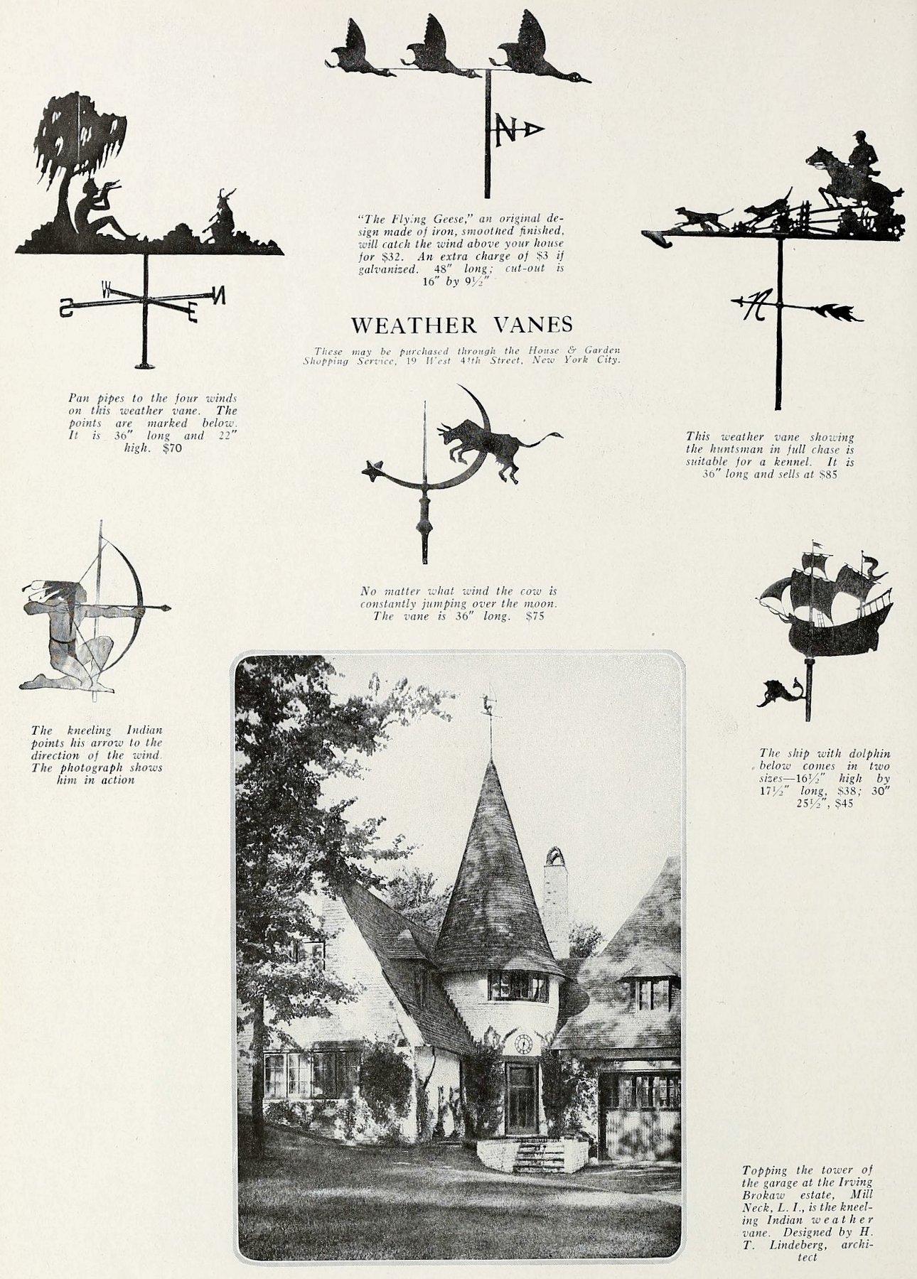Weathervanes seen in 1920