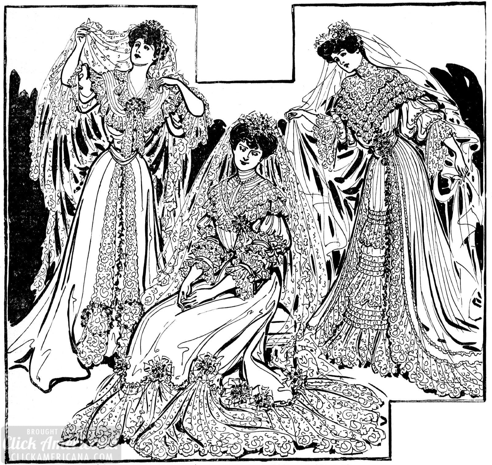 Wedding dresses from 1904