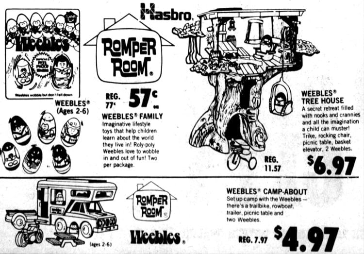 Hasbro Romper Room Weebles: Family, Tree House, Campabout