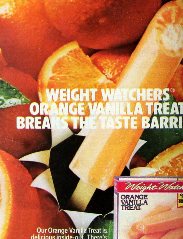 Weight Watchers orange vanilla treat - frozen pops (1987)