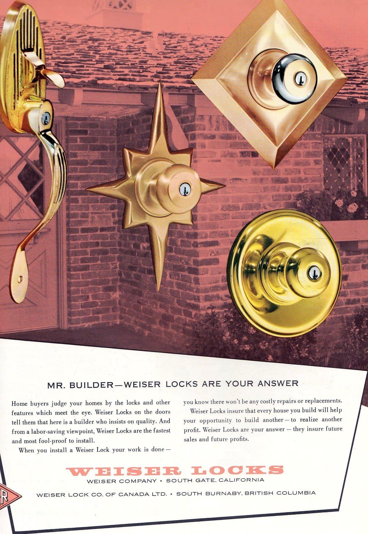 Weiser mod door locks for home from 1958