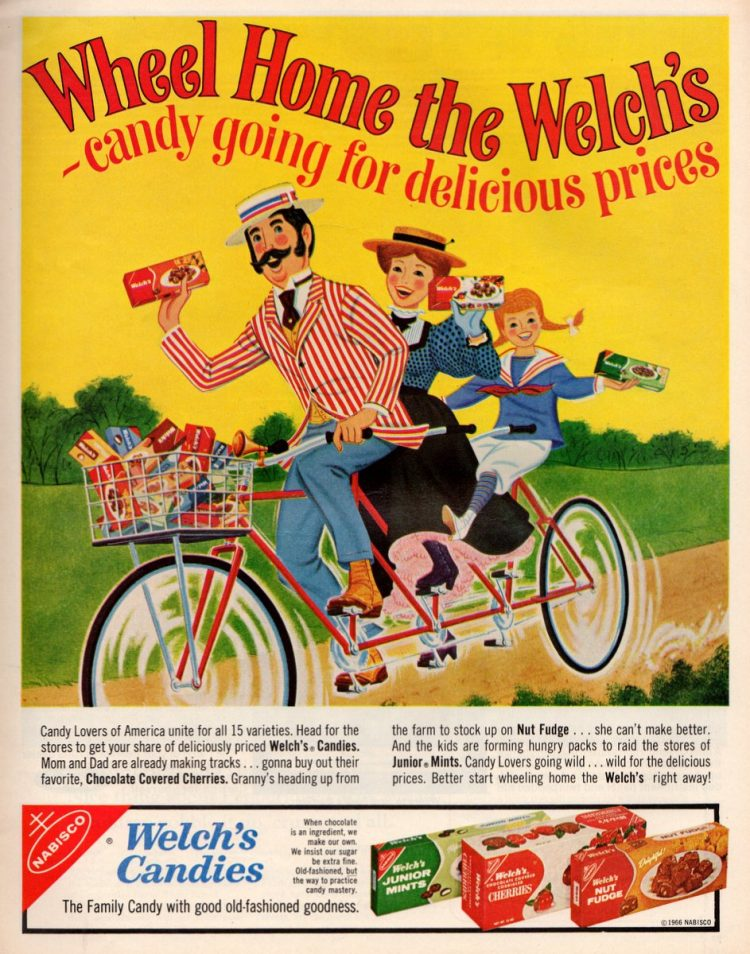Welch's candies Junior Mints, Cherries, Fudge (1966)