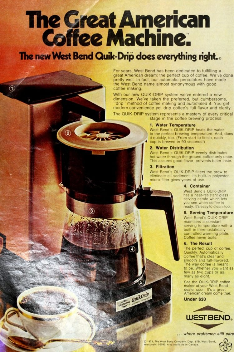 West Bend vintage automatic coffeemakers - Quik-Drip (1973)