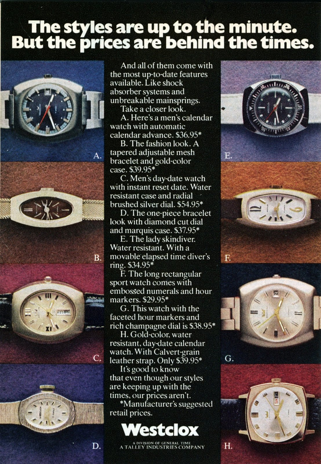 Westclox watches for men and women (1973)