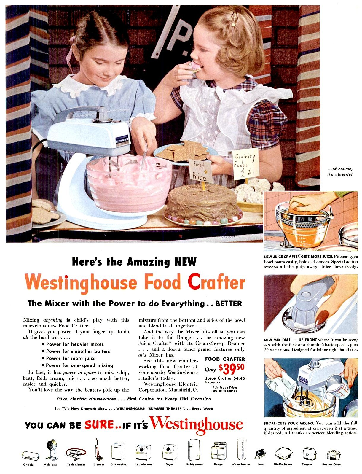 Westinghouse Food Crafter stand mixer (1951)